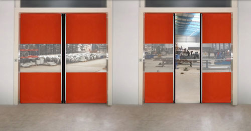 sliding door / fabric / PVC / exterior
