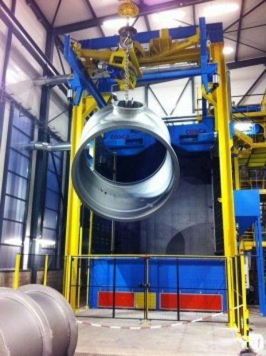 overhead conveyor shot blasting machine / for metal