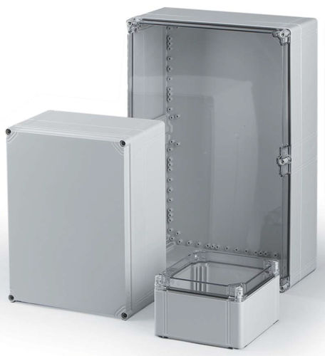 wall-mount enclosure / rectangular / with transparent cover / screw cover