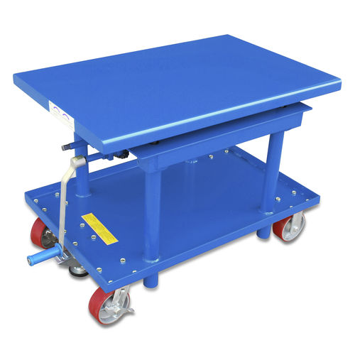 column type lift table / hydraulic / mobile / roller
