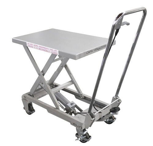 scissor lift table / hydraulic / foot-operated / mobile