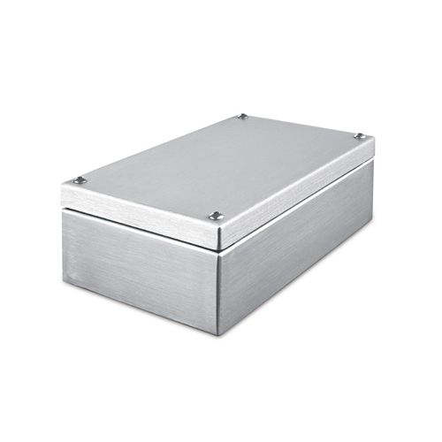 small-size enclosure / rectangular / stainless steel / for electronics