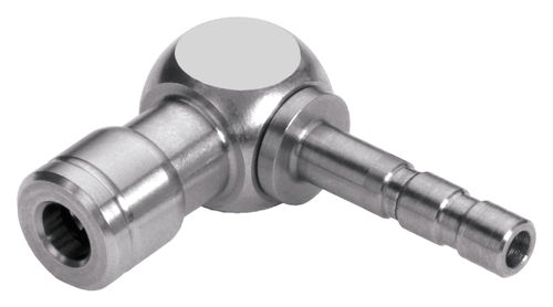 push-in fitting / barbed / 90° angle / pneumatic