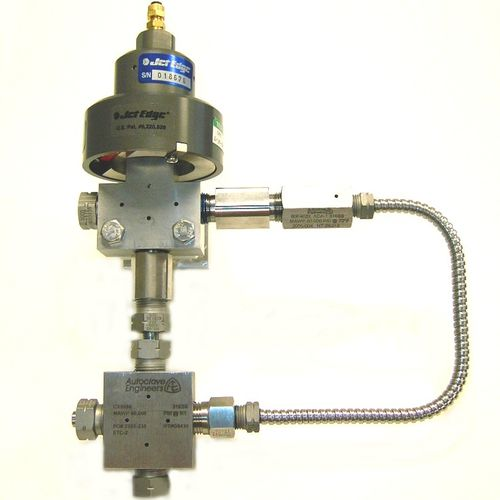 pneumatically-operated valve / pressure-control / for water / for water-jet cutting machines