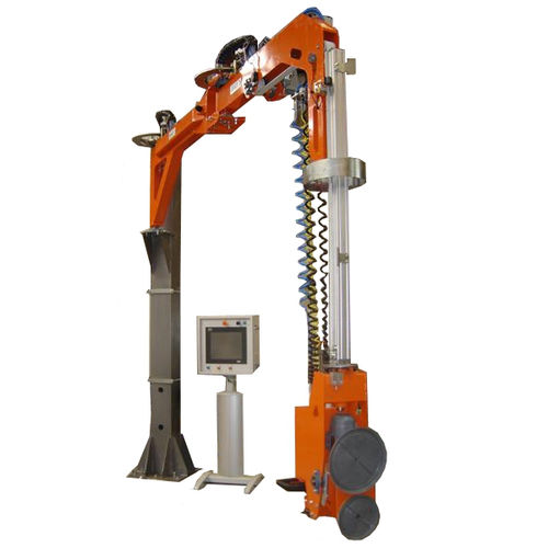 manipulator with orbital end effector / for glazing / column-mounted