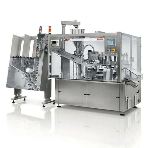 automatic filler and sealer / rotary / for chemical products / for pharmaceutical products