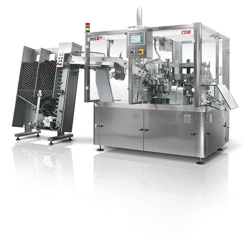 tube filler and sealer / automatic / rotary / for pharmaceutical products