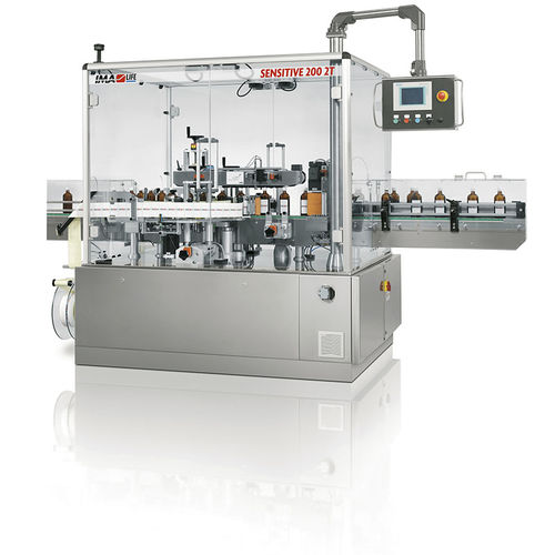 automatic labelling machine / for self-adhesive labels / linear array / side