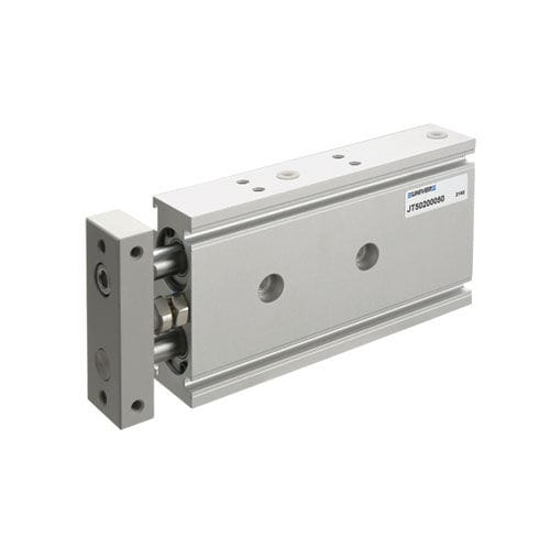 pneumatic cylinder / with guided piston rod