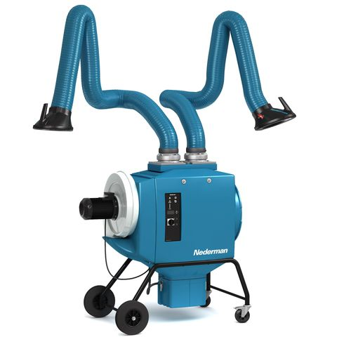 mobile fume extractor / welding / cartridge / with multiple extraction arms