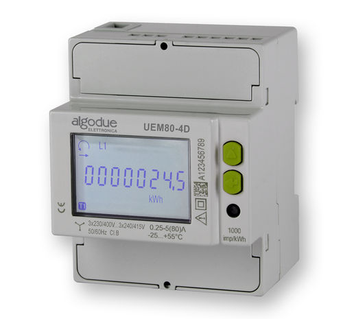 Three-phase electric energy meter / DIN rail / 50 Hz / with LCD display UEM80 series  Algodue Elettronica