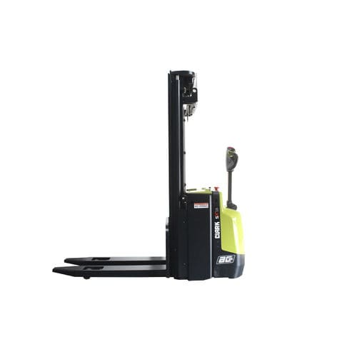 electric stacker truck / with rider platform / walk-behind / pallet