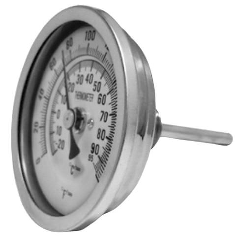 bimetallic thermometer / analog / screw-in / stainless steel