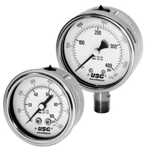 Pressure gauge / liquid-filled Bourdon tube / dial / chemical-resistant / rugged 1550 U.S. GAUGE