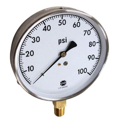 dial pressure gauge / Bourdon tube / for HVAC / stainless steel