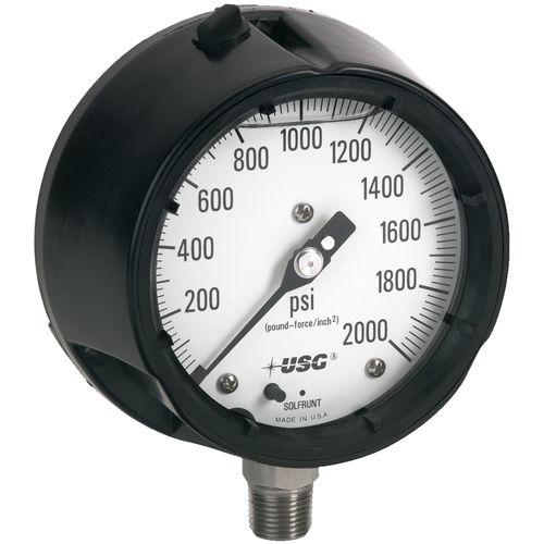 analog pressure gauge / liquid-filled Bourdon tube / process / for vacuum