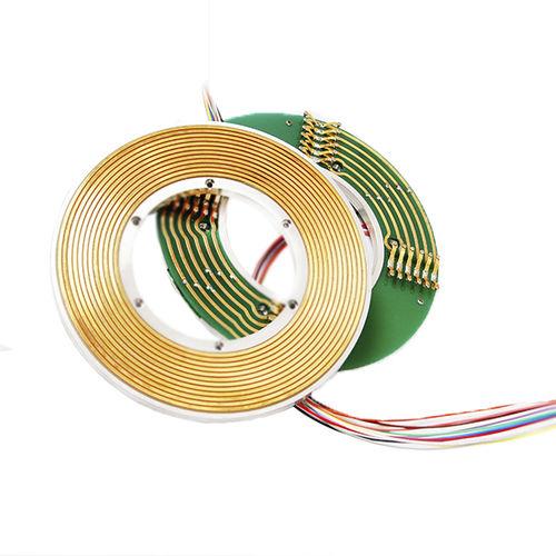 electric slip ring / through-bore / 2-part / flat