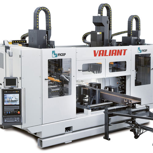 CNC drilling line / for structural profiles / beam / 3-spindle