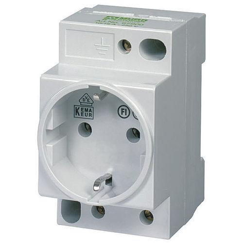 DIN rail electrical socket / built-in