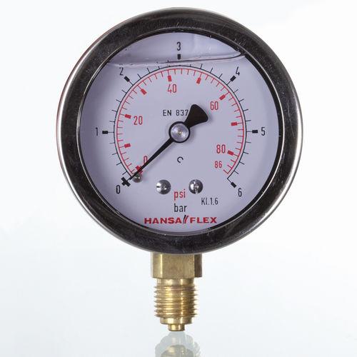 dial pressure gauge / liquid-filled Bourdon tube / process / glycerin-filled