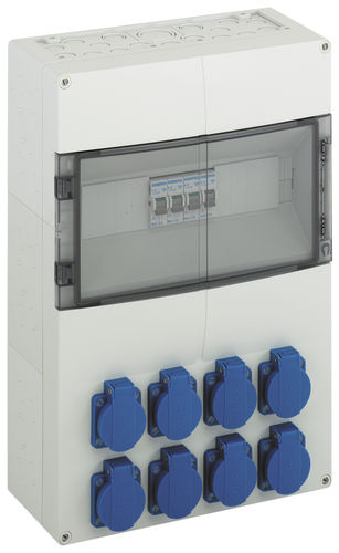 equipped electrical enclosure / plastic / power distribution / with electrical socket