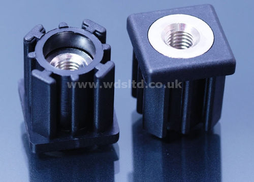 Threaded insert / plastic / square / for round tube ends WDS 689 series WDS Component Parts