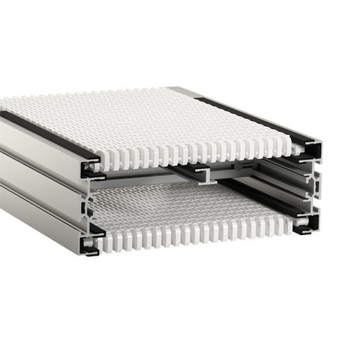 modular belt conveyor / for the food industry / for cardboard boxes / for packaging