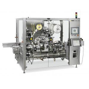 self-adhesive label labelling machine / linear array / for the pharmaceutical industry