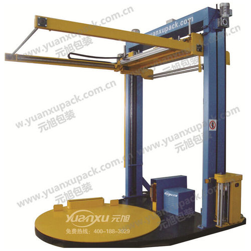 turntable stretch wrapper / automatic / with top cover sheet dispenser