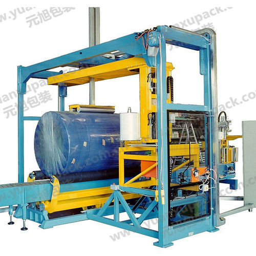 horizontal stretch wrapper / automatic / for cylindrical products / with conveyor