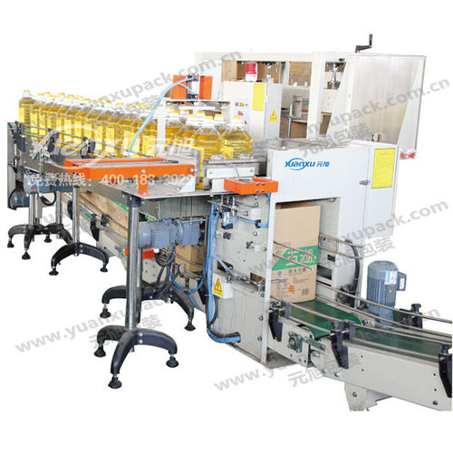 top-loading case packer / automatic / for cosmetic products / for oil