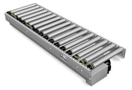 roller conveyor / belt-driven / horizontal