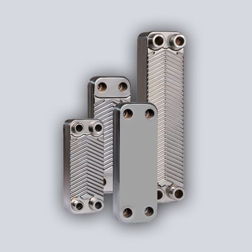 brazed plate heat exchanger / air/water / stainless steel / copper