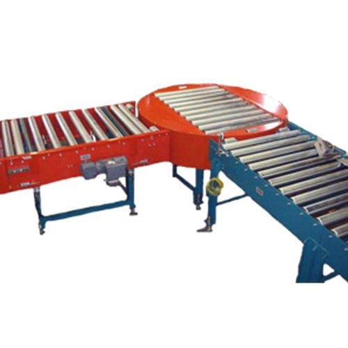 motor-driven rotary table / horizontal / automatic / with roller conveyor