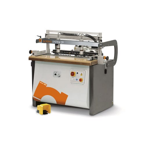 single-head through-feed boring machine / for woodworking