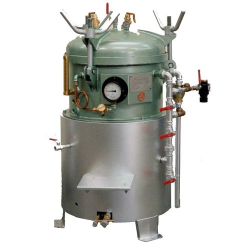 laboratory autoclave / vertical / top-loading / for the food industry