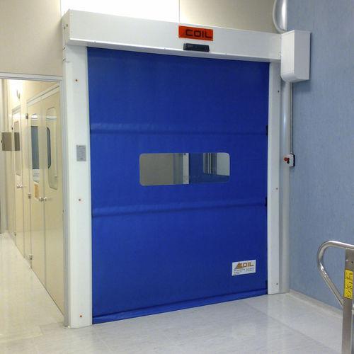 roll-up door / stainless steel / fabric / polyethylene