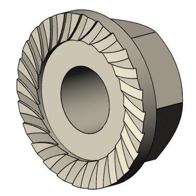 hexagonal nut / flange / self-locking / stainless steel