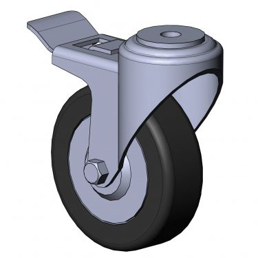 swivel caster / rod / with brake / central hole fixing