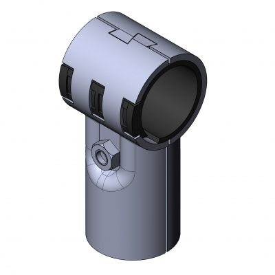 round tube connector / T / plastic / zinc
