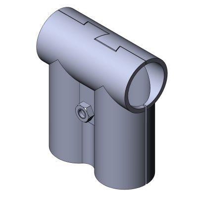 round tube connector / T / zinc / center bracket
