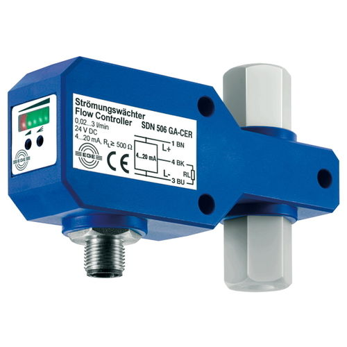 thermal flow switch / for liquids / in-line / compact
