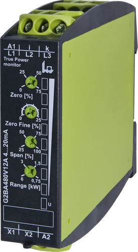 DIN rail power transducer / three-phase