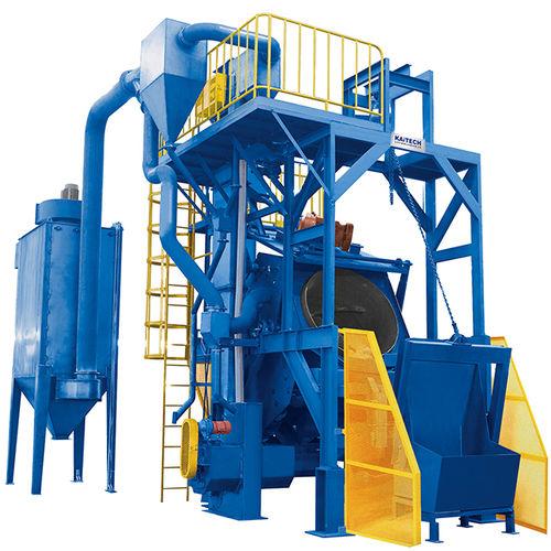 rotary drum shot blasting machine / for bulk materials / compact