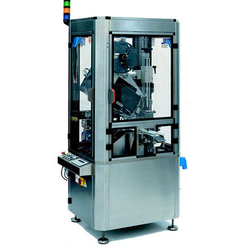 automatic labeler / in-line / top / for the pharmaceutical industry
