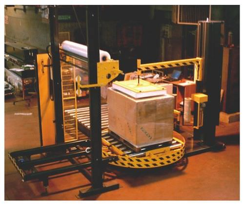 turntable stretch wrapper / fully automatic / pallet / with conveyor