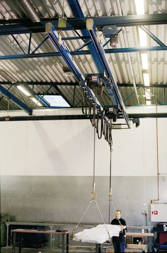 double-girder overhead traveling crane / aluminum / steel profile / heavy-duty