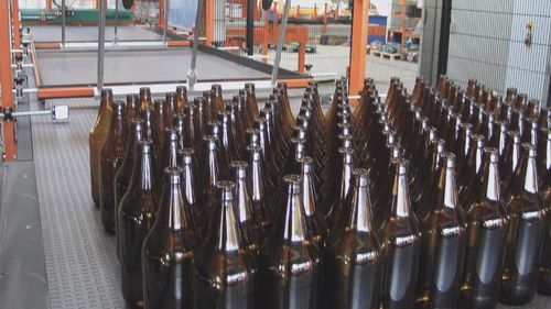 modular belt conveyor / for bottles / automatic / stainless steel