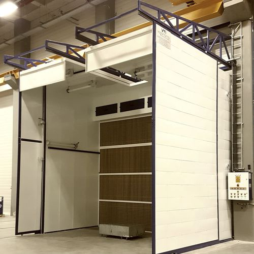 open spray booth / enclosed / filter / wet paint