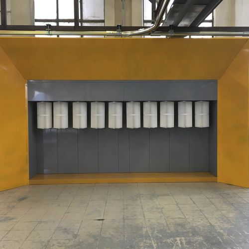 open powder coating booth / for parts / cartridge filter / manual
